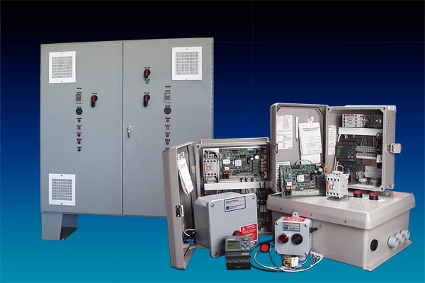 Photo of Orenco Controls products. We design and manufacture control and monitoring products, primarily for pump and flow-control applications. Our panels are used for diverse applications in multiple markets