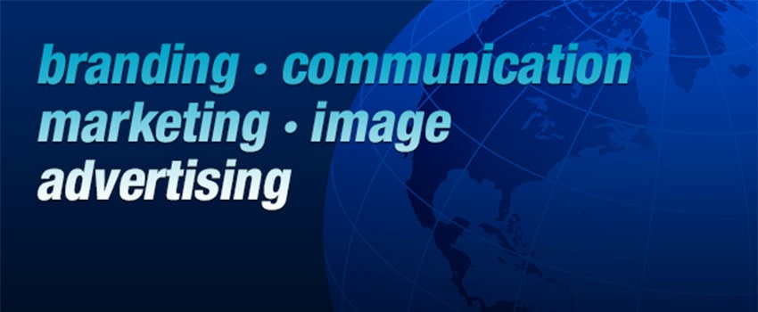 Graphic of the world with the words 'branding, communication marketing, image, advertising'
