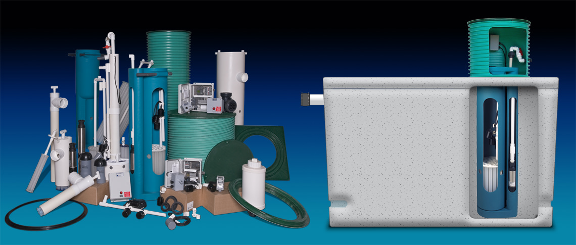 Photo of Orenco pump systems, floats, filters, and other septic system products