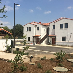 Photo of Cedar Springs Apartments where AdvanTex greywater system produces treated water for toilet flushing and irrigation